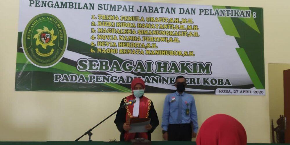 Pelantikan Enam Hakim Baru Di Pengadilan Negeri Koba